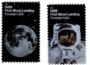 #5399 - 5400 1st Moon Landing set/2 (Off Paper) - Used