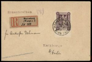 Germany 1920 Marienwerder Plebescite Mi41 EF Registered Cover 74428