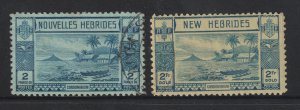 New Hebrides a British & French used 2Fr from 1938