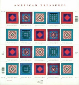 US: 2001 AMERICAN TREASURES; AMISH QUILTS; Sheet Sc 3524-27; 34 Cents Values