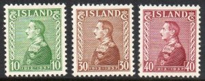 Iceland  Sc 199-201 1937 25th Anniv Reign of Christian X stamp set mint