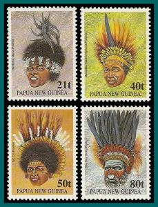 Papua New Guinea 1991 Tribal Headdresses, MNH  778-781,SG658-SG661