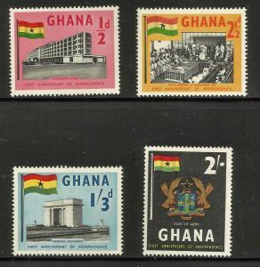 Ghana 1958 Scott# 17-20 MNH