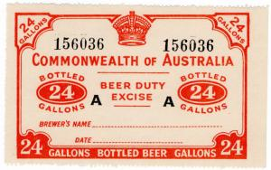 (I.B-CK) Australia Revenue : Beer Duty Excise (24 Gallons) CofA watermark