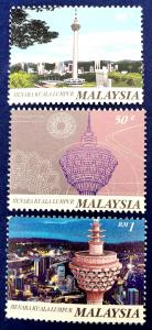 Malaysia Scott # 595-7 KL Tower Stamps Set MNH