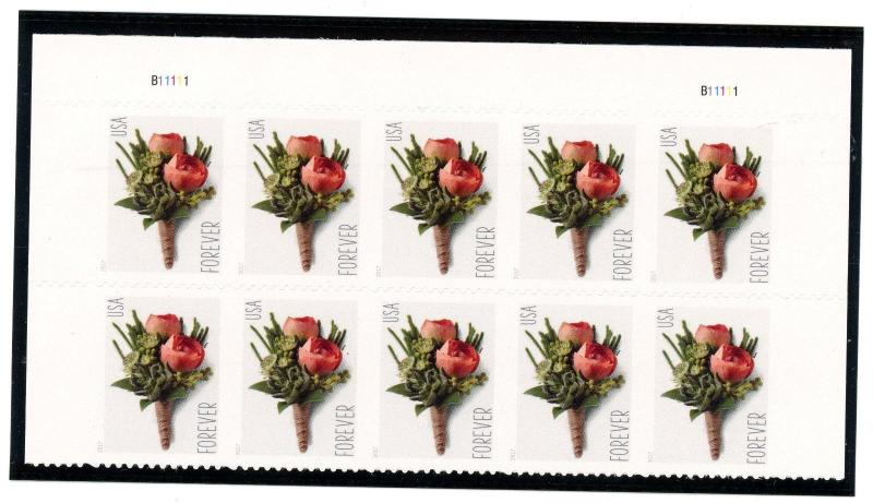 US  5199  Boutonniere - Top Forever Plate Block of 10 - MNH - 2017 - B11111