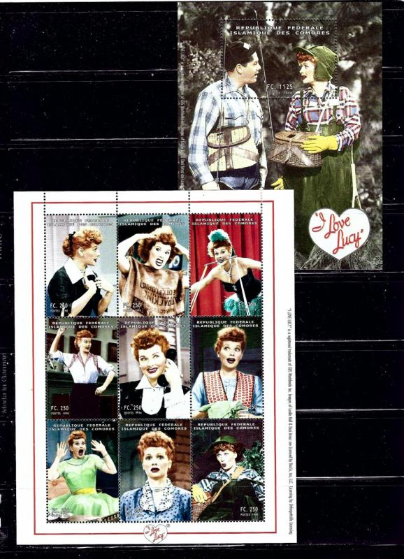 Comoro Is 833F;833P MNH 1998 I Love Lucy Sheet and S/S