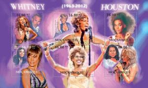 Mozambique MNH S/S Whitney Houston Singer 2012 6 Stamps