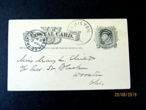 UX7 Postal Card, Hamilton VA cancel, 1885, Wash DC Transit Aux Cancel, to Ohio