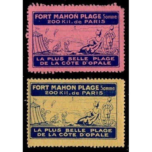 France FORT MAHON PLAGE Tourism Promotion Poster Stamps