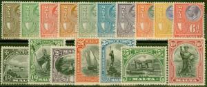 Malta 1926-27 set of 17 SG157-172 Fine & Fresh Lightly Mtd Mint