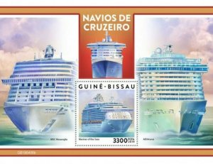 Guinea-Bissau - 2019 Cruise Ships on Stamps - Stamp Souvenir Sheet - GB190406b