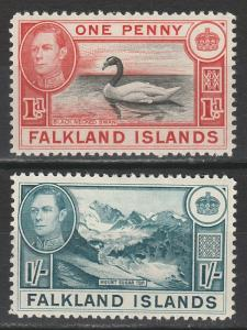 FALKLAND ISLANDS 1938 KGVI PICTORIAL 1D AND 1/-