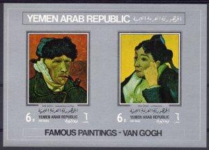 Yemen Arab Republic 1968 VAN GOGH Paintings s/s Imperforated Mint (NH)