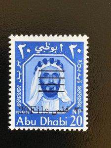 Abu Dhabi 1966 20f on 20np, MNH. Scott 17 CV $13. Michel 17C  CV €15