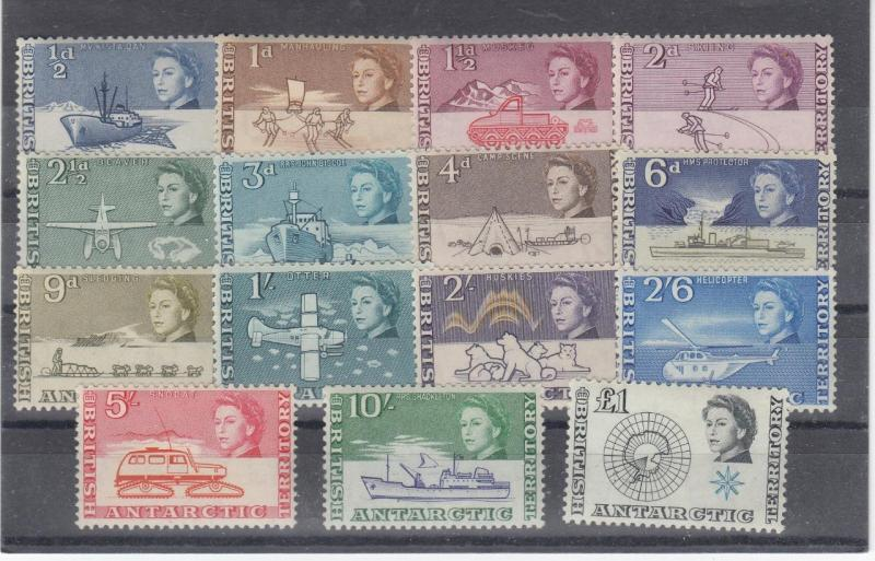 BRITISH ANTARCTIC TERRITORY # 1-15 VF-MNH EXPEDITIONS CAT VALUE $200++