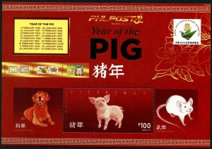 HERRICKSTAMP NEW ISSUES PHILIPPINES Sc.# 3819q Year of the Pig S/S II China Ovpt