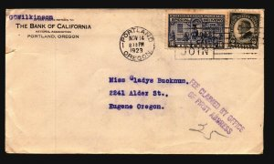 US 1923 Bank of CA Special Delivery Cover / Small Edge Tear - L4803