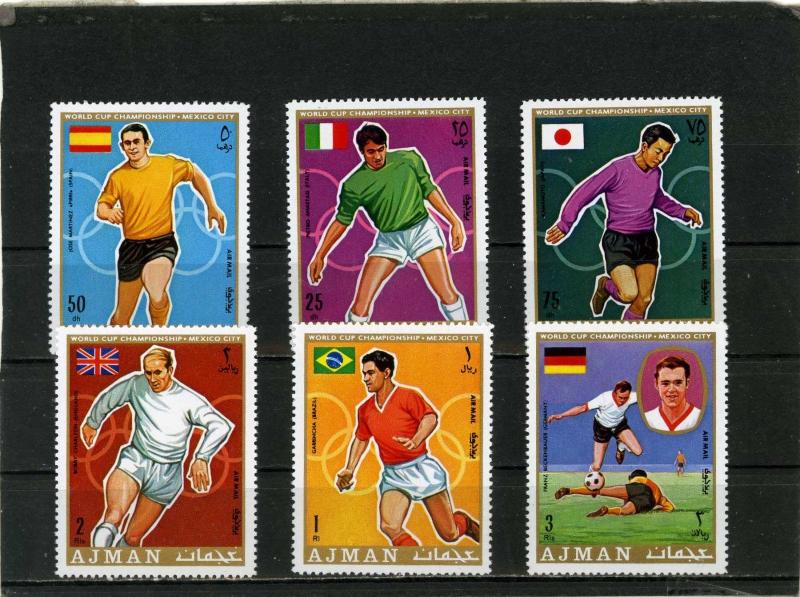 AJMAN 1970 Mi#525-530A SOCCER WORLD CUP MEXICO SET OF 6 STAMPS PERF.MNH