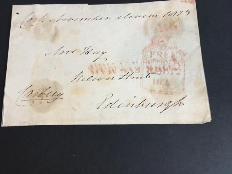 Ireland to Scotland 1823 Front Showing Red CORK EVg MAIL Straight Line HS FREE
