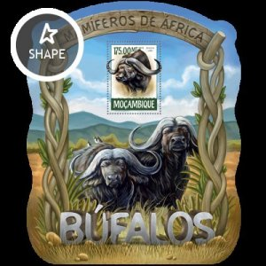 Mozambique MNH S/S Buffaloes Wildlife 2015