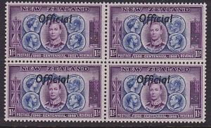 NEW ZEALAND 1940 Centenary Official 1½d block of 4 MNH. SG cat £24..........5244