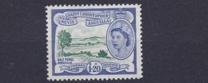 ST KITTS  1954  S G 117   $1.20  GREEN & ULTRAMARINE      MH