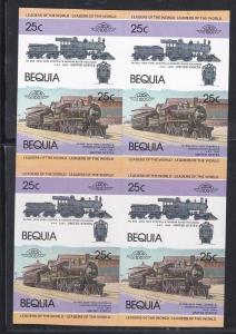 Bequia, Trains, Imperf Trial Color Proofs, Blocks of Four NH