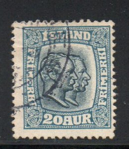 Iceland  Sc  107 1915 20 aur 2 Kings stamp used