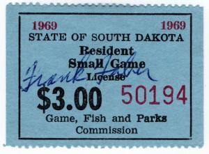 (I.B) US Revenue : Small Game Hunting License $3 (South Dakota)
