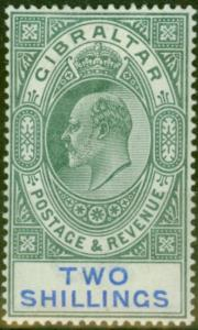 Gibraltar 1903 2s Green & Blue SG52 Fine & Fresh Lightly Mtd Mint (2)