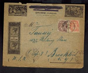 1908 French Post Office Turkey Smyrne Cover to USA Stamp Collector