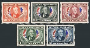 Paraguay C184-C188,hinged.Mi 661-665. Franklin Delano Roosevelt. 1950. Flags.