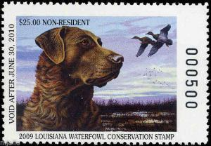 LOUISIANA #21A 2009 NR STATE DUCK STAMP MALLARDS/CHES RETREIVER Anthony Padgett