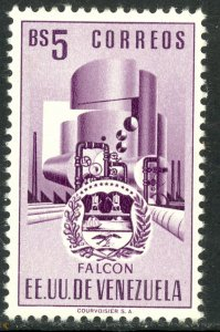 VENEZUELA 1953-54 5b ARMS OF FALCON and OIL REFINERY Issue Sc 561 MNH