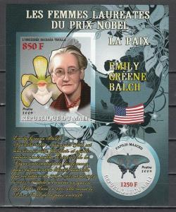 Mali, 2009 issue. E. Balch, Nobel Prize. Orchid & Butterfly in design. IMPERF.