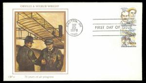 UNITED STATES FDC 31¢ Wright Brothers PAIR 1978 Western Silk