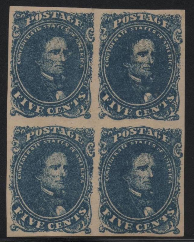 ~ CSA Scott #4 VF Block of 4 Mint OG Confederate Stamps Beauty ~
