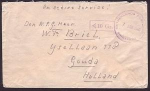 SINGAPORE 1946 cover NETHERLANDS POST OFFICE / SINGAPORE military PO