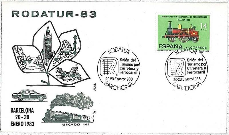 TRAINS : SPAIN - SPECIAL COVER: Rodatur 1983 BARCELONA
