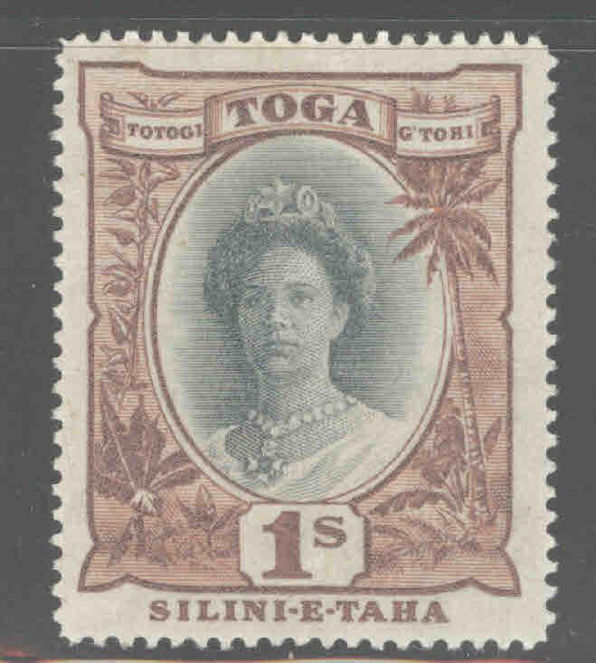 TONGA  Scott 62 MH* Queen Salote with turtle watermark