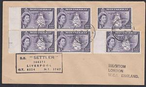 MONTSERRAT 1957 ship cover SS SETTLER cachet...............................54077