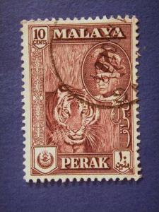 PERAK, 1957, used 10c. purple, Sultan Yussuf Izzuddin Shah.
