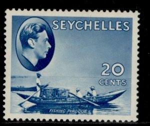 SEYCHELLES GVI SG140, 20c blue, M MINT. Cat £45.