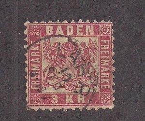 GERMAN STATES - BADEN SC# 27   F/U 1868