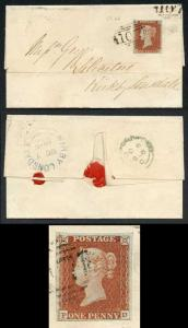 1841 Penny Red (PD) on Cover EXTRA CANCEL Plate 66