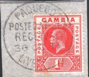GAMBIA 1913 GV 1d on piece PAQUEBOT / POSTED AT SEA /  LIVERPOOL cds.......52211