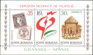 Romania #3743, Complete Set, 1992, Stamp Show, Stamp on Stamp, Never Hinged