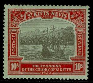 ST KITTS-NEVIS GV SG58, 10s black & red/emerald, LH MINT. Cat £325.