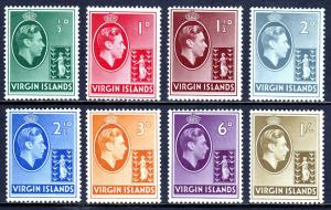 VIRGIN ISLANDS — SG 110//117 — 1938 KGVI ISSUE — CHALKY PAPER — MH — SG £43